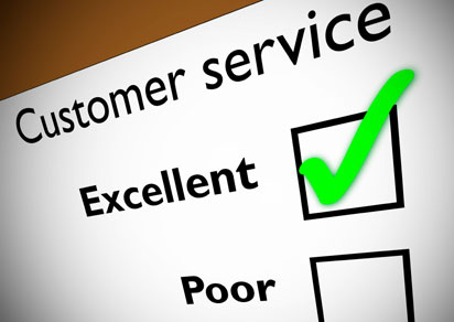 "Image of a customer service survey with ""Excellent"" checked."