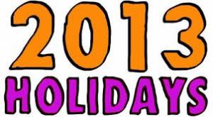 2013 holidays